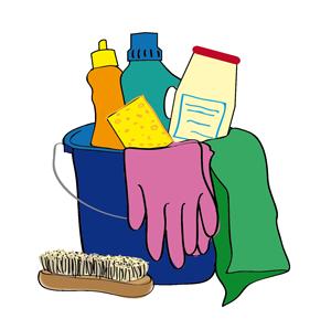 Putzeimer, gefüllt mit Handschuhen, Lappen, Schwamm, Bürste und Putzmitteln.