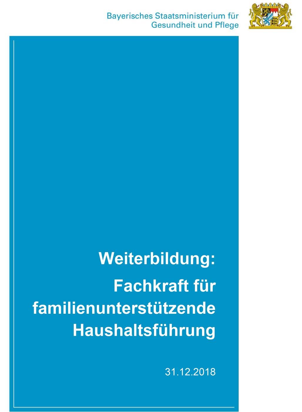 """Deckblatt Konzept zur Weiterbildung zur """"Fachkraft für familienunterstützende Haushaltsführung"""""""