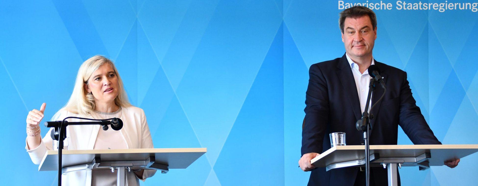 Pressekonferenz zur Ministerratskonferenz am 24. Juli 2018 mit Ministerpräsident Markus Söder und Gesundheitsministerin Melanie Huml