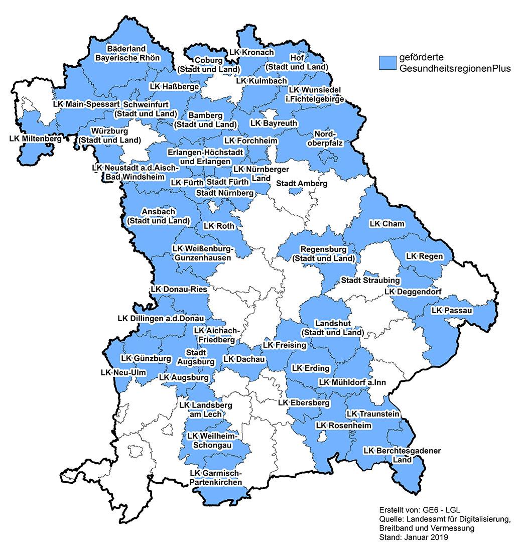 Die Bayernkarte zeigt die geförderten Gesundheitsregionen plus.
