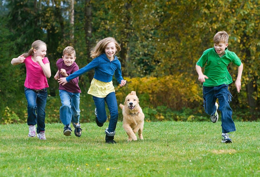 Kinder rennen mit Hund auf einer Wiese.