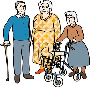 ältere Frau, Frau mit Rollator, Mann mit Stock