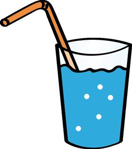 Volles Wasserglas mit Strohhalm