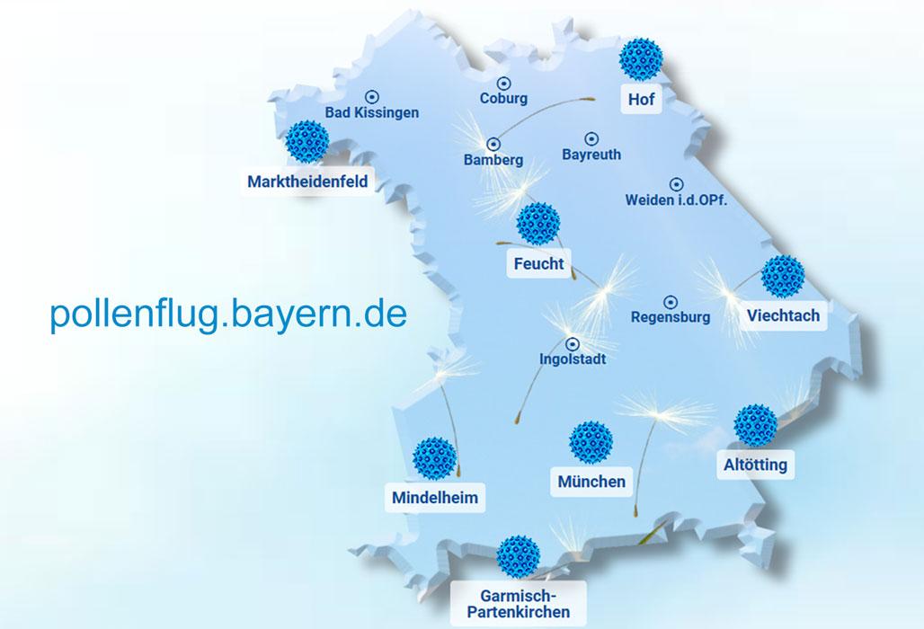 Bayernkarte mit Messstandorten für Pollen