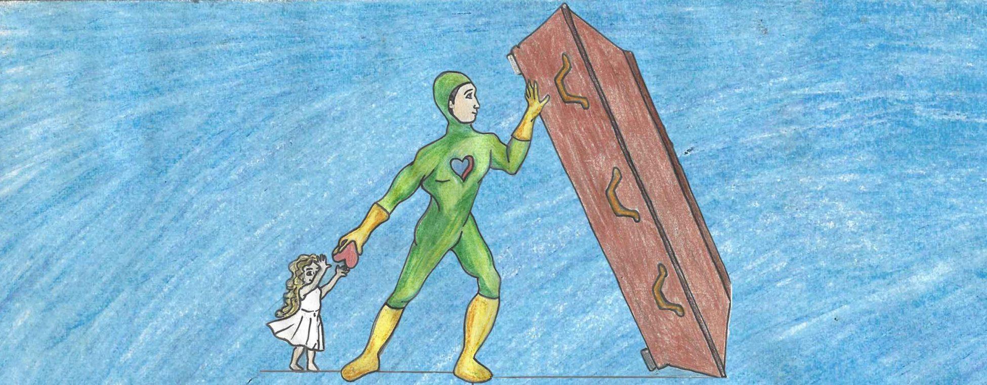 Be a hero - Safe others - Bild zum Kunstwettbewerb Organspende und Transplantation