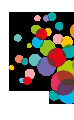 Bunte Blasen - Gestaltungselement zum Bayerischen Gesundheits- und Pflegepreis