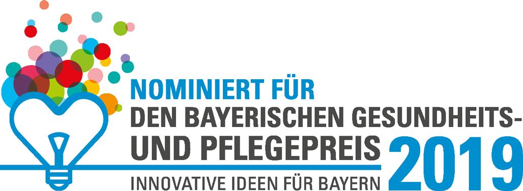 Logo Nominiert für den Bayerischen Gesundheits- und Pflegepreis 2019 - Innovative Ideen für Bayern