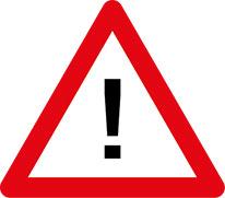 Ein Schild mit einem Ausrufezeichen in der Mitte