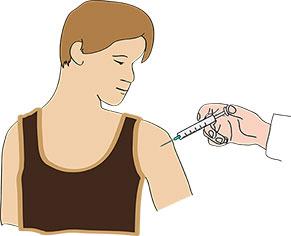 Ein Mann bekommt eine Spritze in den Arm