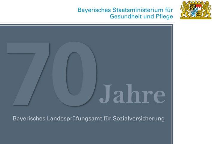 Titelbild der Broschüre 70 Jahre Bayerisches Landesprüfungsamt für Sozialversicherung