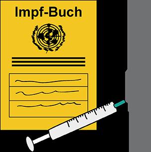 Impfbuch und Spritze