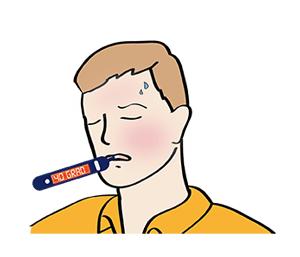 Mann hat 40 Grad Fieber