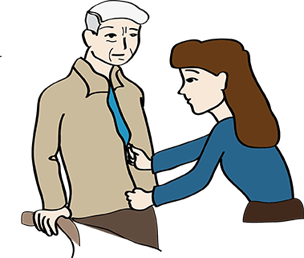 Frau hilft älteren Herren beim Anziehen