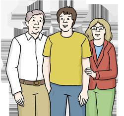 Eltern mit ihrem erwachsenen Sohn