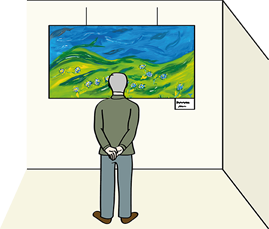 Mann betrachtet Gemälde in einer Ausstellung