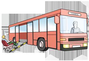 Rollstuhlfahrer steigt in einen Bus ein