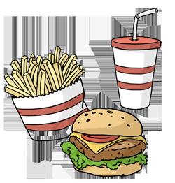 Burger, Pommes, Soft Getränk
