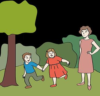 Frau mit zwei Kindern im Park