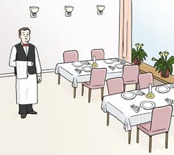 Leeres Restaurant mit Kellner