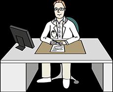 Arzt schreibt Bericht.
