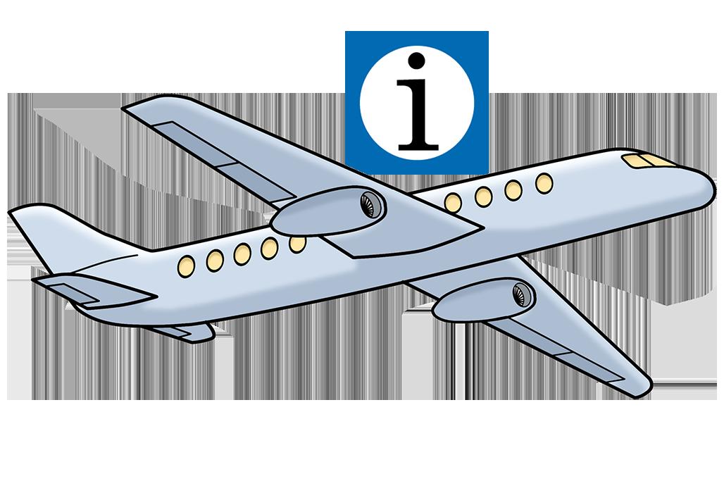 Flugzeug mit Info-Hinweis