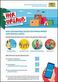 """Vorschau des Plakats """"Ihr Urlaub"""", enthält Hinweise für Reisende und Reiserückkehrer. Teil der Corona-Krisenkommunikation. #bayerngemeinsam"""