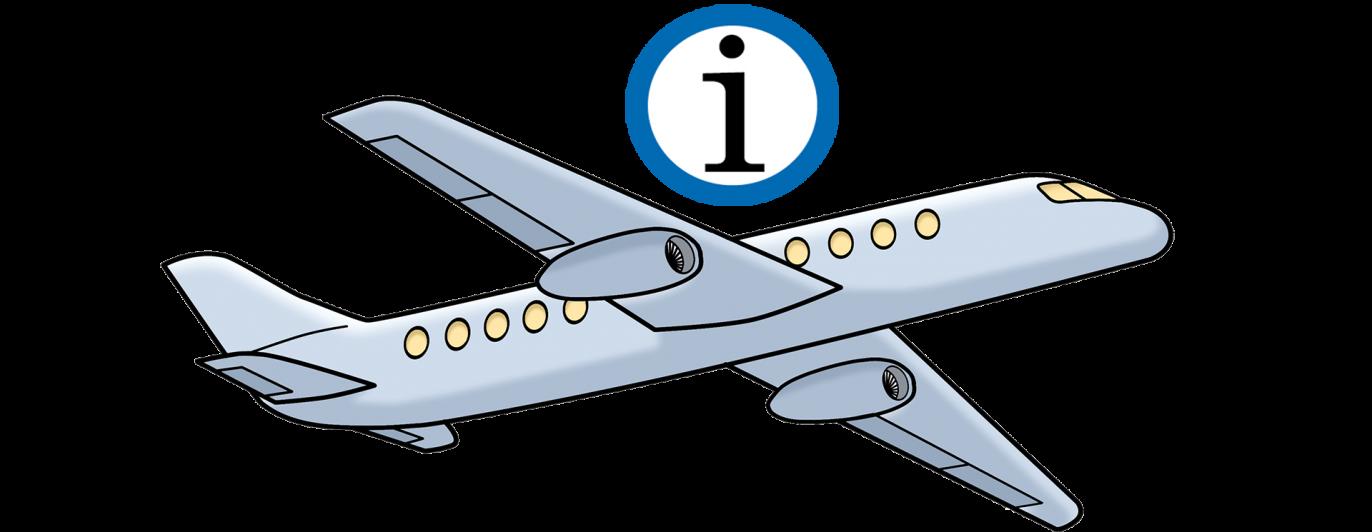 Flugzeug mit einem Info-Hinweis