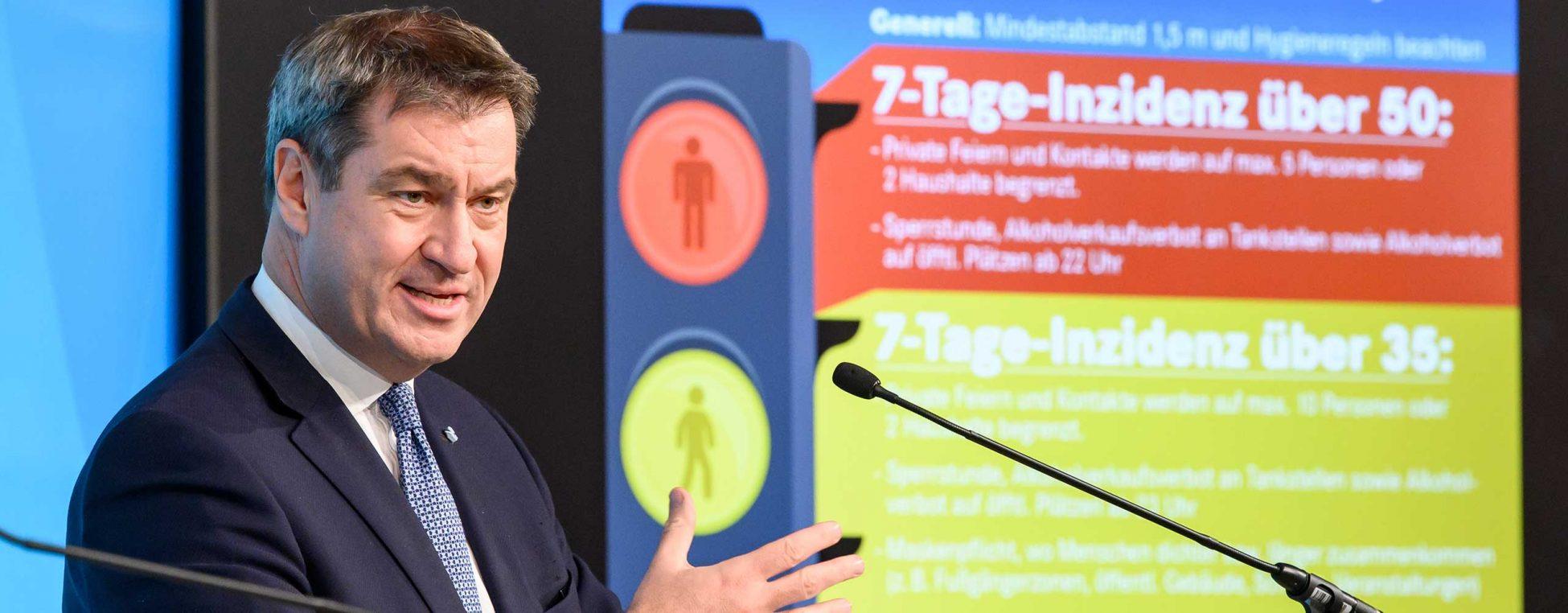 PK zur Sitzung des Ministerrates unter Leitung von Bayerns Ministerpraesident Dr. Markus Soeder. aufgenommen am 15.10.2020 in der Bayerischen Staatskanzlei in Muenchen. Foto: Joerg Koch/ Bayerische Staatskanzlei