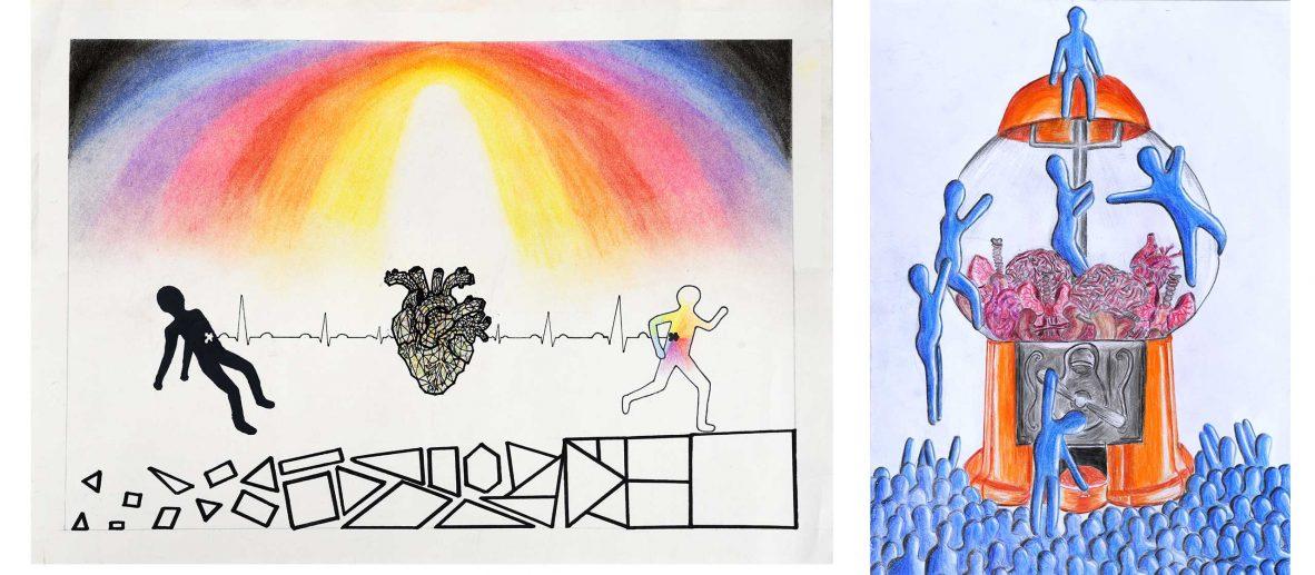 Kunstwettbewerb Organspende 2019/2020: Gewinnerwerke, v. l. n. r.: Helen Ohlenhard, Julia Schulhauser